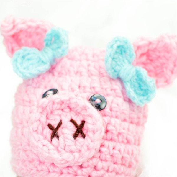 Новинка Вязать Розовая Свинья Шапка, Toboggan Beanie, Вязаная Свинья Шапочка для Девочки с Крючком ручной работы с бантом