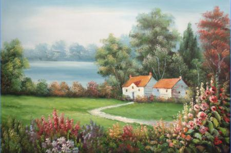 Landscape with Flowers Trees Road Lake and a House,Handpainted Landscape Wall Art Oil Painting On Canvas.Various Sizes Free Shpping Ls040