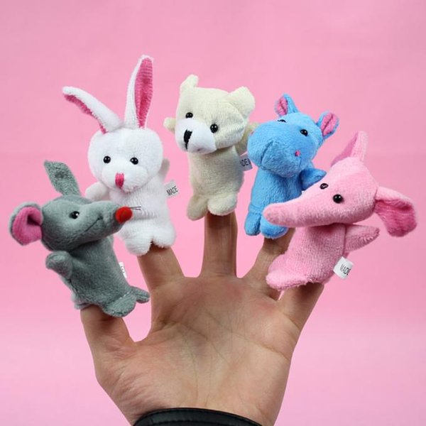 10pcs/lot New 7cm Baby Plush Toy Finger Puppets Talking Props 10 animal group free shipping Stuffed animals wholesale