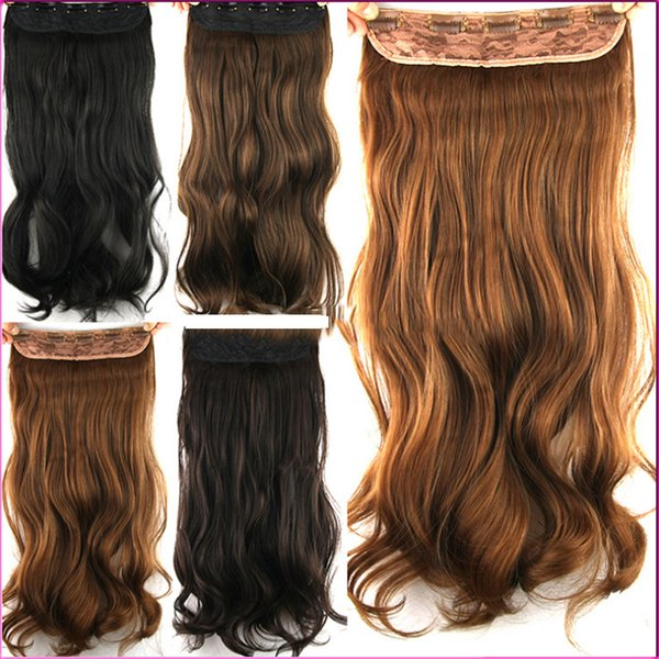 5clips Curly Wavy Synthetic Hair Clip In Heat Resistance Peruvian