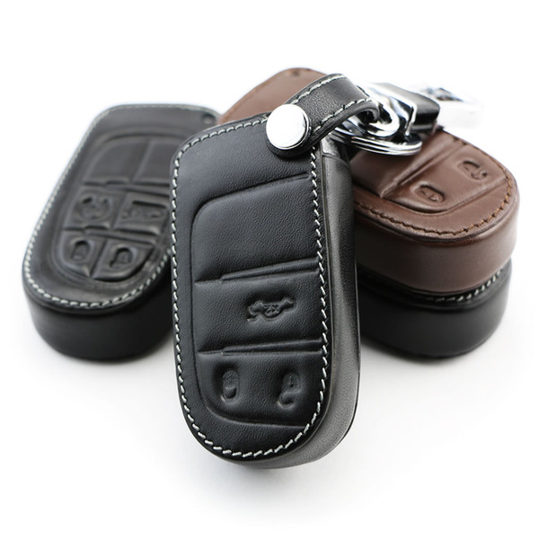 Genuine Leather Car Key Cover Key Case For Jeep Grand Cherokee Renegade  2014 2015 Chrysler 300C Fiat Freemont Auto Accessories Replace Car Key Fob