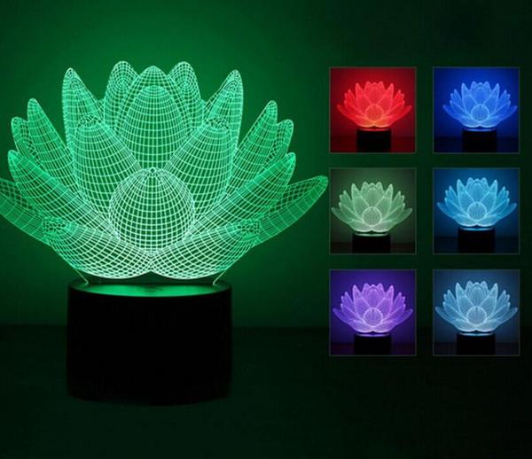 7 colori cambiati Lotus Flower Table Lamp effetto 3D LED luce luci natalizie per la decorazione di bambini Compleanno Decorazioni di nozze