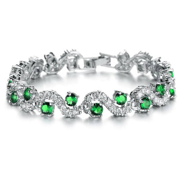 VOGEM Top Quality Turquoise Blue Topaz Fashion Bracelets For Women 18K White Gold Plated Bridal Wedding Sets Jewelry