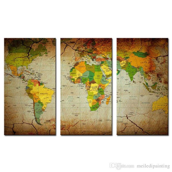 3 pezzo Brown Wall Art Painting Word Map Stampe su tela Immagine Mappa Immagini Oil For Home Modern Decoration Print Decor
