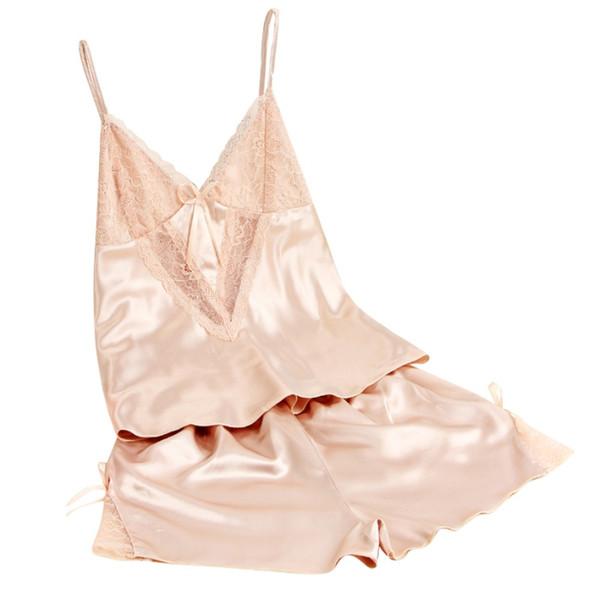 Новая мода Женская пижамы костюмы сексуальные женщины искусственный шелк сна носить топ брекеты ShirtsShorts нижнее белье пижамы набор
