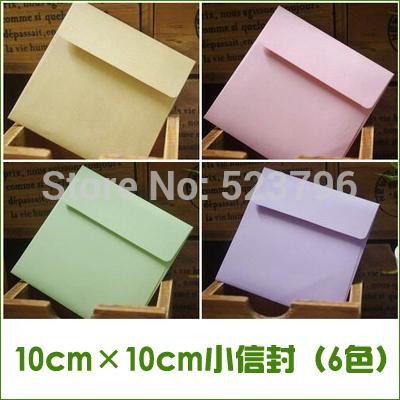 Frete grátis por atacado 1 lote = 100 peças 10 cm quadrados pequenos envelopes de papel pequenos cartões / convites / cartão de sócio segurando 6 cores