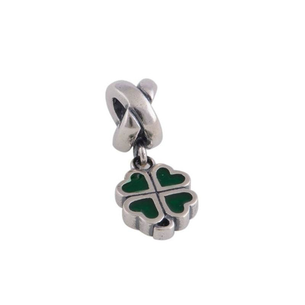 lucky clover pendant 925 sterling silver fits DIY bracelet and necklace free shipping hot sale LW071B