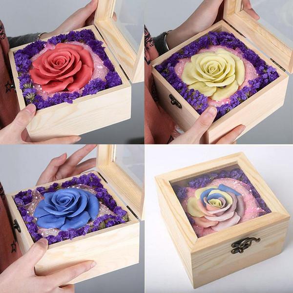Ручной работы роза цветок искусственный цветок День Святого Валентина подарки деревянная коробка пакет неувядающий цветок мама девушки подарки на День Рождения декор