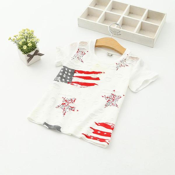 Gros Bébé Garçons Filles Star Stripe Drapeau Américain Manches Courtes Enfants T-shirt Blanc Trou D'été Coton Polo Ronde Top Tee 6389 Vêtements