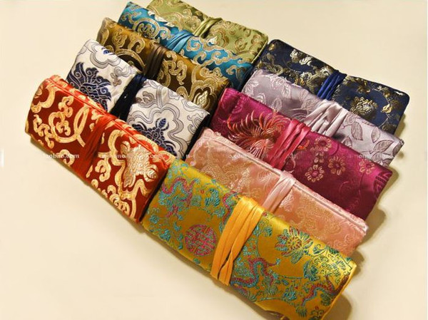 Luxury Travel Jewelry Roll Storage Bag Silk Brocade Foldable Large Makeup Bag Flower Drawstring Cosmetic Bag Pouch for Women 10pcs/lot