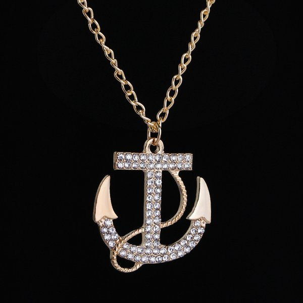 Wholesale Price Jewelry Fashion New Necklace Pendant Anchor Nautical Rope Gold Tone Crystal Chain T Sweater Necklace + Drop Ship