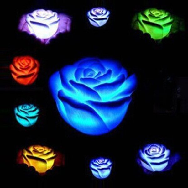 Nuevo cambio romántico LED Floating Rose Flower Candle Night Light Wedding Party inicio Decoración de Navidad 600pcs MK78