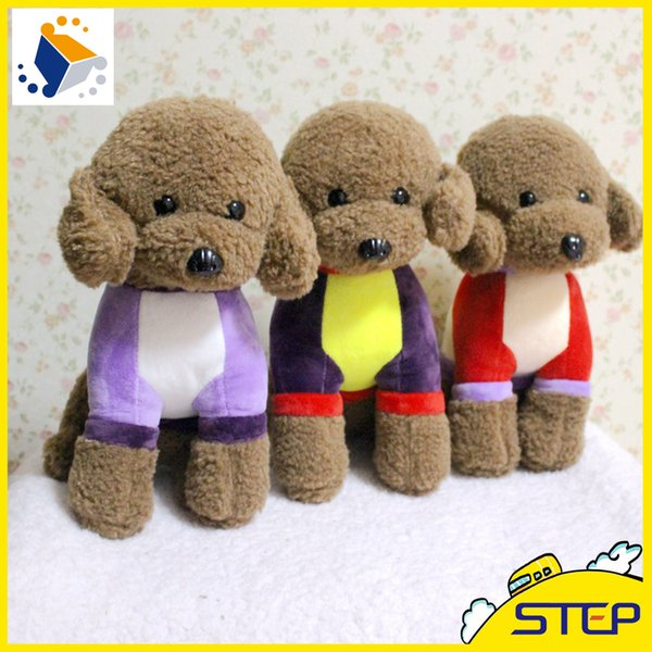 Free Shipping 1pcs 30cm Colorful Cute Teddy Dog Plush Toy Soft Teddy Doll Baby Toy Birthday Gifts for Children ST391