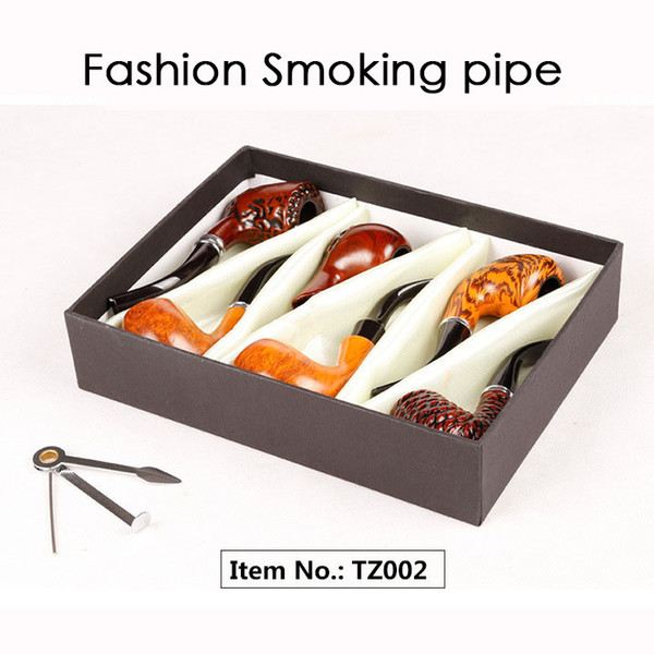 Fashion Gift Wood Color Smoking Pipes Metal & Acrylic Material 6pcs/Set Gift Packaging Pipes For Smoking 4 Types TZ001/TZ002/TZ004/TZ005