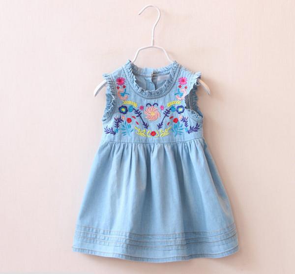 2016 New Baby Girls Denim Dresses Kids Embroidered Floral Princess Dress Flower Preppy Style Dress Newborn Children Toddler Tank Sundress