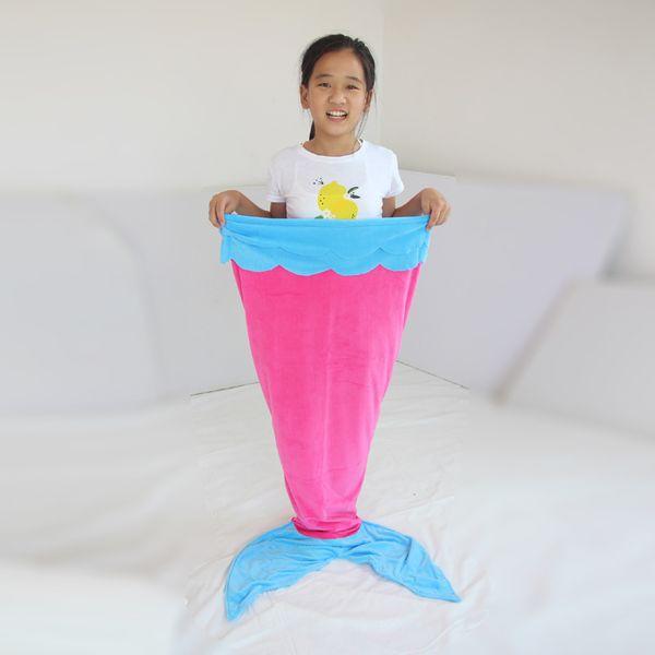 140 CM Kızlar Uyku Tulumu Polar Çift Katmanlı Mermaid Kuyruk Uyku Tulumu Mavi Pembe Mor Çocuklar Uyku Tulumu Battaniye