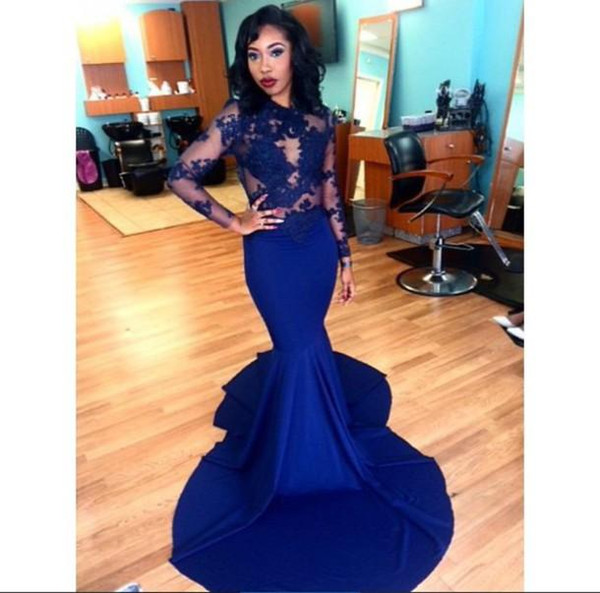 best selling 2020 Lace Royal Blue Mermaid Evening Prom Dress Sexy Long Elegant Plus Size See Through Sheer Long Sleeve Arabic Party Dress African