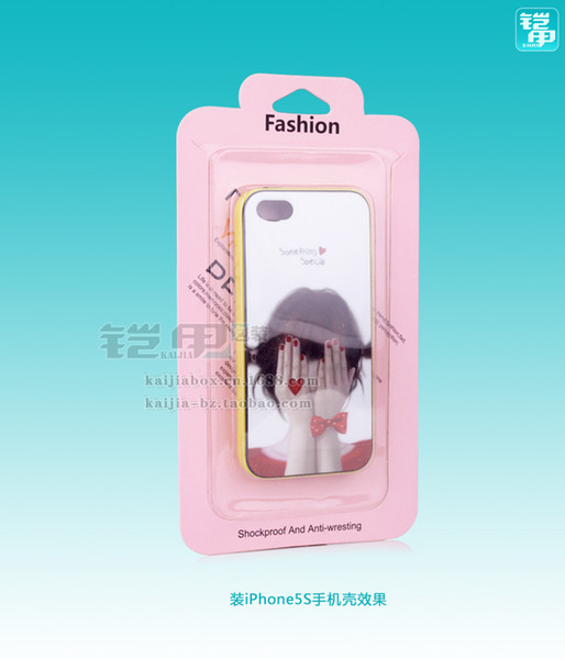 300pcs Wholesale Customize Logo Fashion Pink Rainbow Cardboard PVC Blister Smart Phone Case Packaging Box For iPhone 7/7 plus