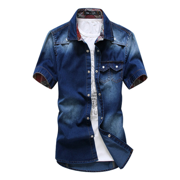 Wholesale-2016 New Fashion Man Short Shirt Summer Men's Short-Sleeved Denim Shirts High Quality Cotton Casual Tops For Man Solid Color