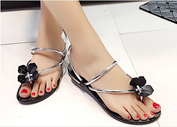 2016 Summer New Fashion Women Lady Flat Sandals Flat Ladies Beach Style Beautiful Flower Sandal Flip Flop Flower Sandal Slippers Australia 2020 From