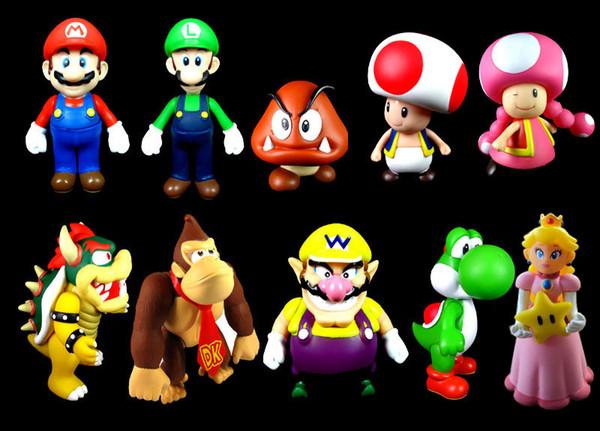 10pcs set kids Cartoon Super Mario bros brothers yoshi luigi bowser wario PVC Action figures figurines Model dolls Toy Gift