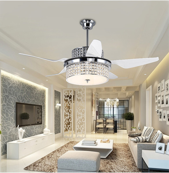 best selling Crystal ceiling chandelier fan modern restaurant household electric fan lights LED with remote control inverter fans living room
