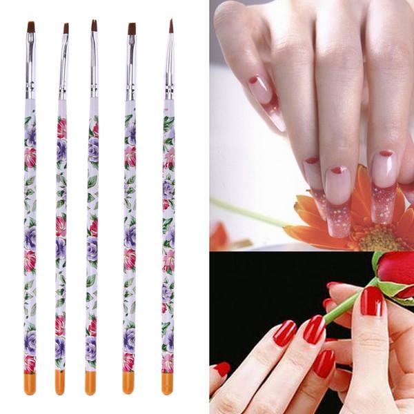 5pcs Flat Painting Drawing Pen Nail Art Brushes Acrylic Nail Brush Kit Set UV Gel Brushes Nail Art Tool