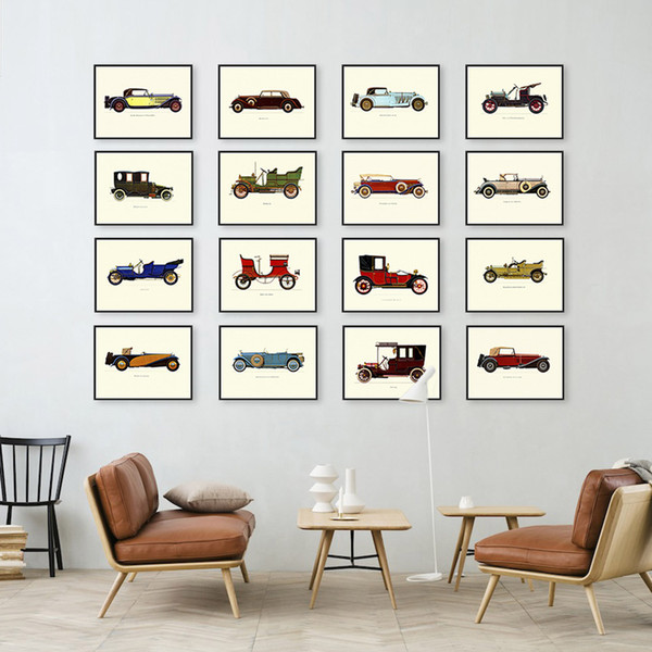 Nordic Famous Vintage Retro Car Automobile Collection A4 Large Art Print Poster Hipster Wall Picture Canvas Painting No Frame Cafe Bar Deco