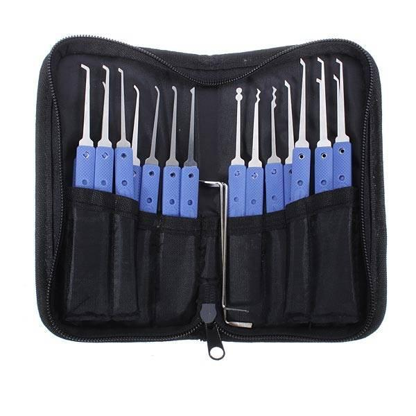 high quality cheap KLOM 20 in 1 single HOOK lock PICK set Jackknife professional locksmith tool leather bag