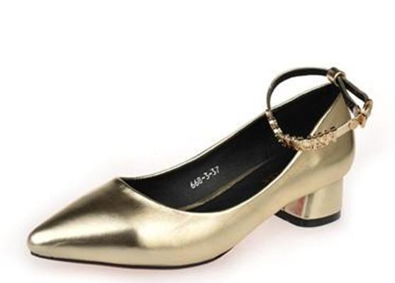 2015 spring and summer female Korean small pointed shoes with thick square with golden and silver female with low shallow