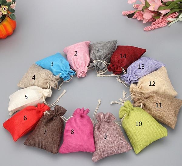 Estremamente Lino tessuto con coulisse gioielli sacchetti di caramelle  FB66