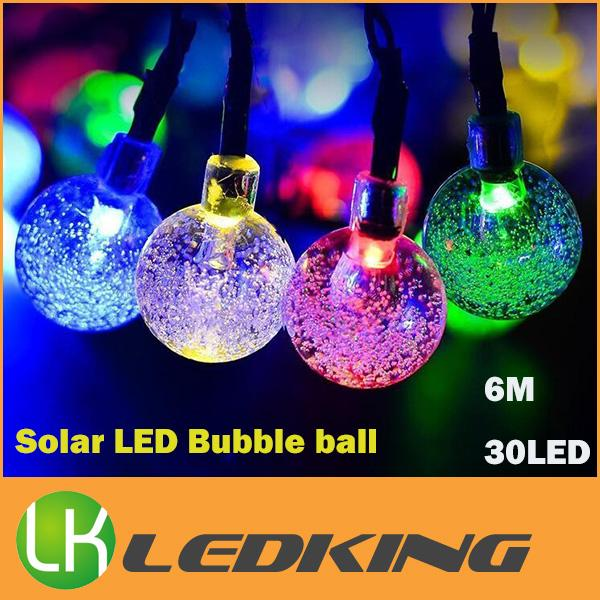 New arrival Solar LED bubble ball light led string outdoor led christmas lights waterproof 6m 30 led bulbs free shipping