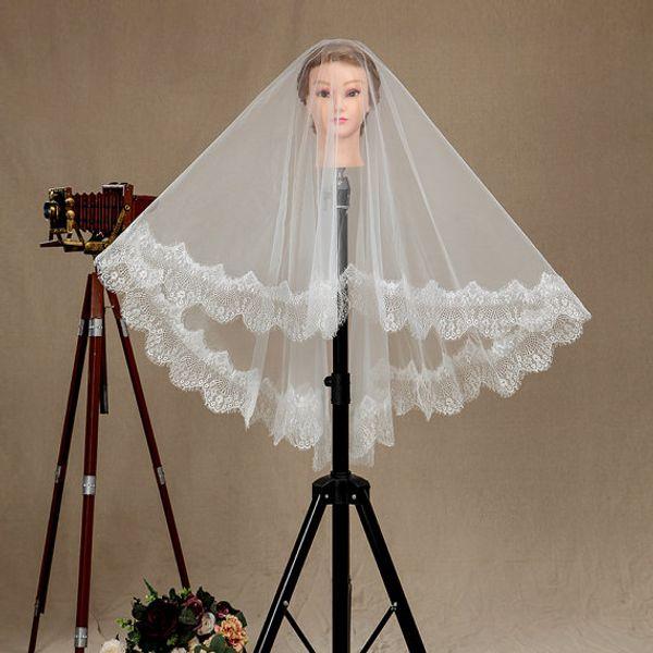 New Hight Quality Fashion Designer Best Sale Romantic Elbow White Ivory Lace Applique Mantilla Veil Bridal Head Pieces For Wedding
