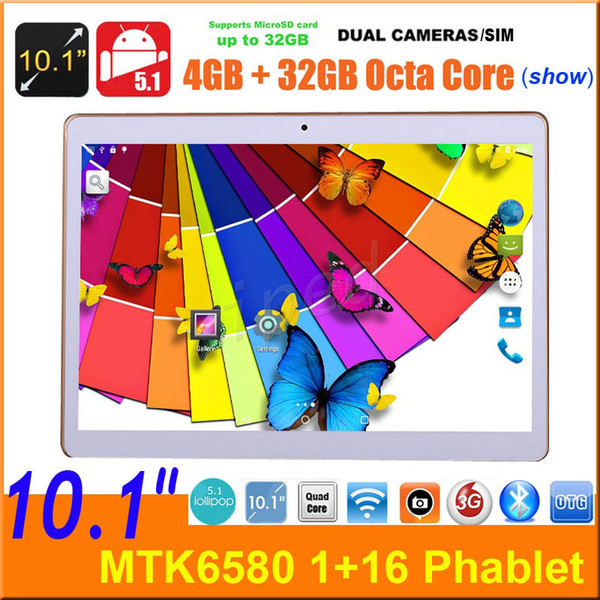"10 10.1"" MTK6580 Quad core 3G Android 5.1 Phone Tablet PC 16GB BT GPS 1280*800 Phablet Dual SIM camera unlocked show MTK8752 Octa core 32GB"