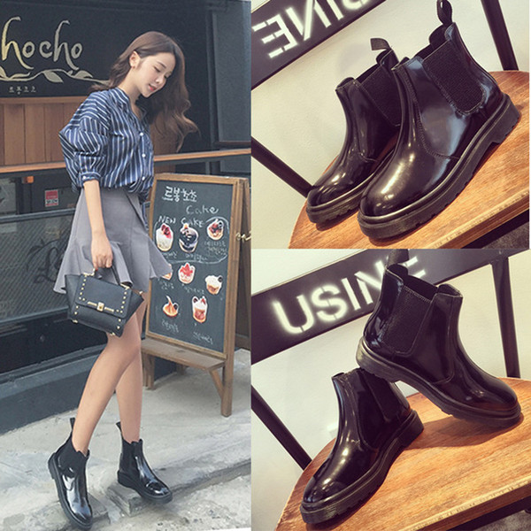 Lady Flat Heel Short Boots Martin Boots Womens Shoes Shoe Ankle Boot Flats Thick Heel Elastic Band