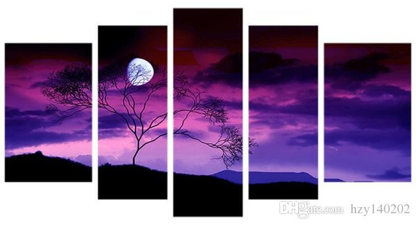 YIJIAHE Fashion Canvas Painting Art moonlit night 5 Pictures Print On Canvas Large 5 Piece Wall Pictures For Living Room FJ224