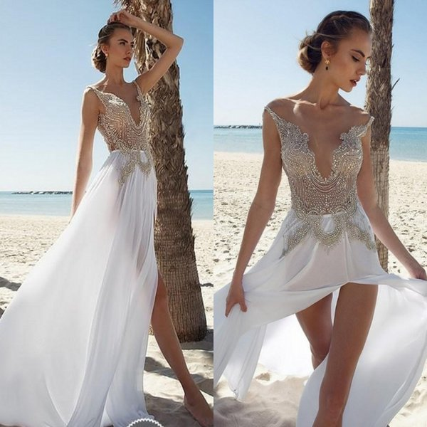 Sexy Chiffon Beaded Spaghetti Straps Beach Wedding Dresses Vintage Long Bridal Gowns Vestidos De Novia Para Playa