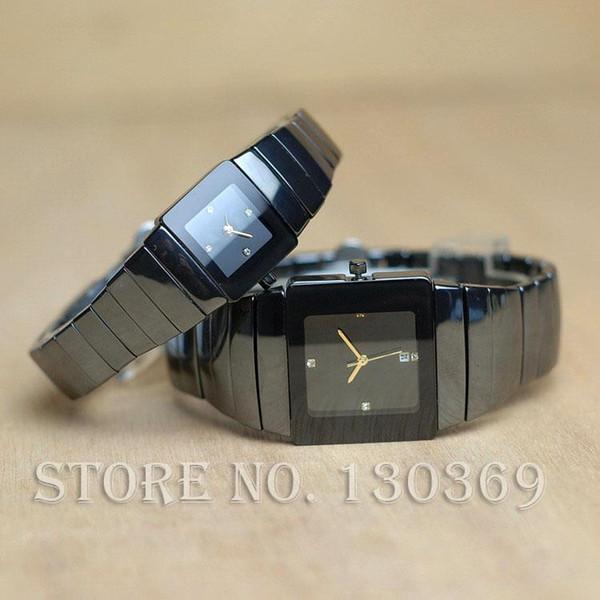 2017 nuevos Mens Relojes de Lujo Reloj de Cuarzo de Cerámica Mujeres Square Dial Vestido Relojes de Pulsera Amantes Reloj de Calidad Reloj de Negocios