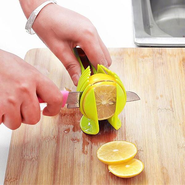 Tomato Slicer ABS Plastic Cutter Slicer Kitchen Gadgets Lemon Orange Fruit Knife Cake Holder Free shipping Random Color