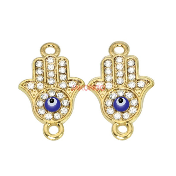 6ps Rose Gold Plated Fatima Hamsa Hand Evil Eye Connectors fit Jewelry Making Findings Accessories DIY Craft 24x15mm