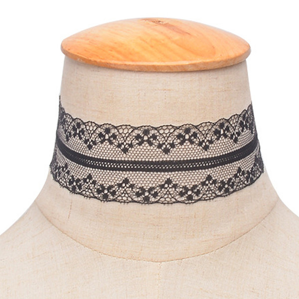 White Black Velvet Ribbon Wide Choker Lace Necklace Gothic Handmade With Charm Gothic Emo For Women Retro Punk Neckalce 6