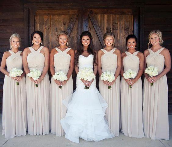 Halter Chiffon Bridesmaid Dresses 2017 A Line Pleated Long Maid of Honor Gowns Backless Cheap Simple Formal Wedding Guest Dresses Custom