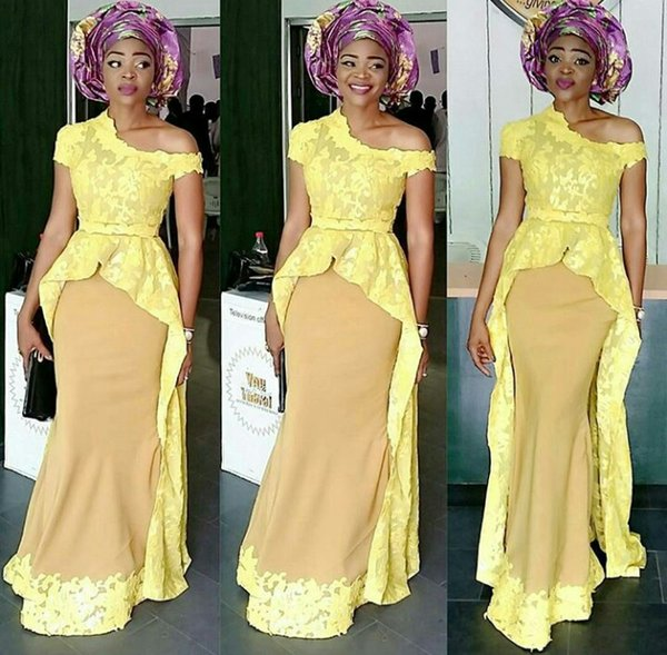 2017 Yellow Mermaid Dress African Evening Gowns Party Guest In Lace Aso Ebi Skirt And