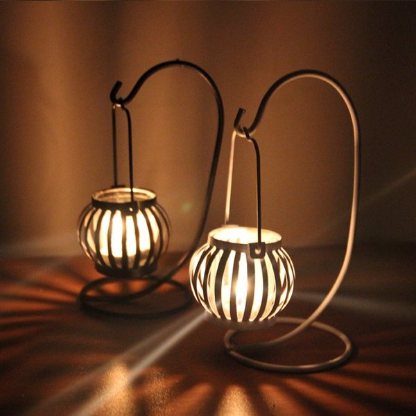 Pumpkin Iron Moroccan Style Candlestick Candleholder Candle Tea Light Holder DIY Wedding Party Home Decor