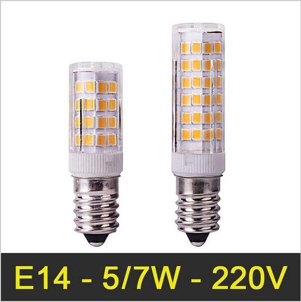 Mini E14 LED Lámpara 5W / 7W 110V / 220V SMD2835 Lámpara de cristal Bombillas LED Luz Maíz Bombilla colgante Refrigerador Luz Reemplace la luz halógena