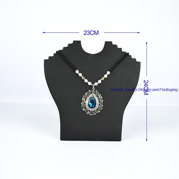 Multi Antique Chest Holder for Jewelry Necklace Display Stand Foldable Black PU Cardboard Neck Easel