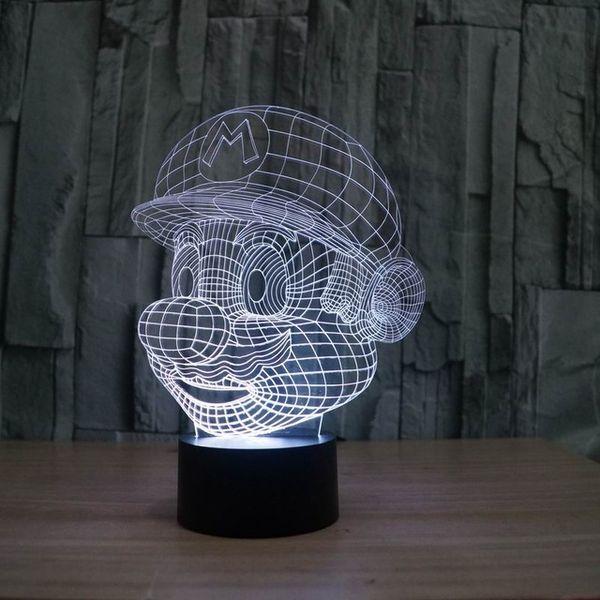 Acheter Nouveauté Super Mario Forme Illusion 3d Conduit Nuit Lumière Dessin Animé Interrupteur Ambiance 5w Led Abs Agneau Ampoules Avec 7 Lumière De