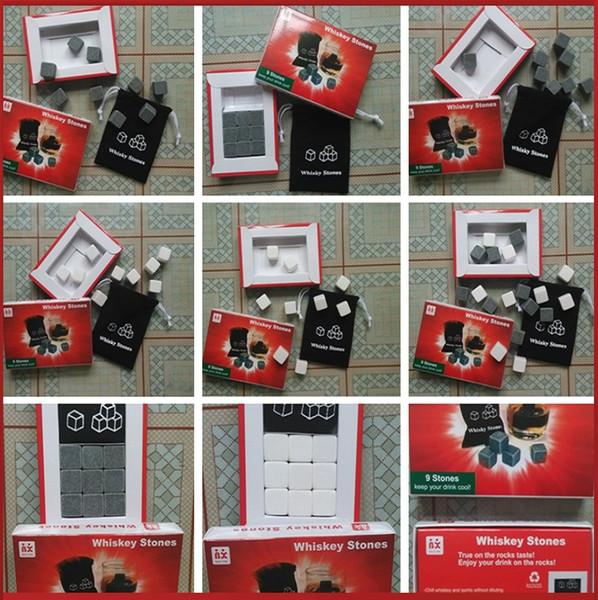 best selling 900pcs 100set Natural Stones 9pcs set Whisky Stones Cooler Soapstone Ice Cube With Velvet Storage Pouch 2045-5