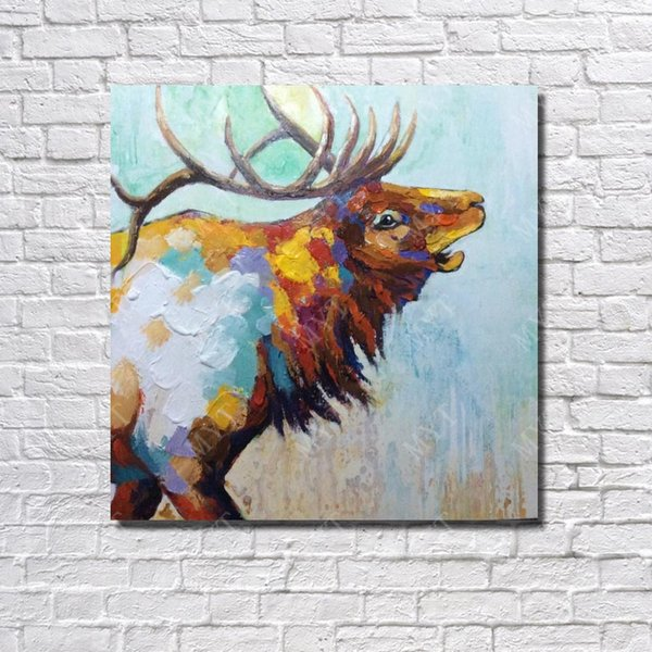 Free shipping Canvas oil painting hand painted abstract home wall decor animal strong deer oil painting