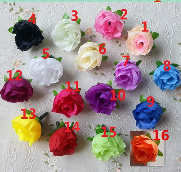 """100Pcs Artificial Silk Rose 1.2""""Flower Head Bud 8 Color Home Wedding Home Decor Hair Clip Artificial Flowers Wedding Party Display Flower"""